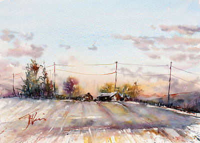 Winter Sunrise On The Lane Poster by Judith Levins