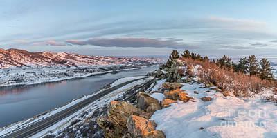 winter sunrise over Horsetooth Reservoir Poster by Marek Uliasz