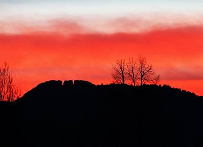 Winter Sunset At Horsetooth Rock Poster by Shari Massey