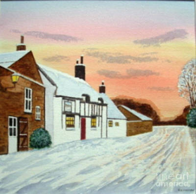 Winter Sunset At 'the Wheatsheaf' Poster