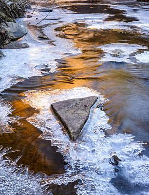 Winter Sunset On Oak Creek Poster by Joe Doherty