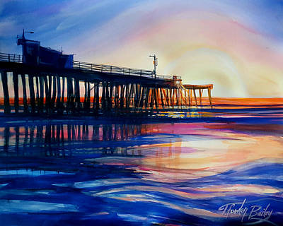 Winter Sunset On Pismo  Pier Poster by Therese Fowler-Bailey
