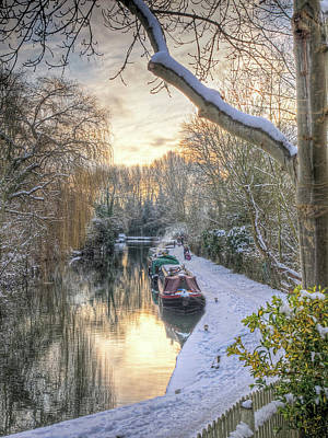 Winter Sunset On The River Poster by Gill Billington