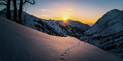 Winter Sunset Over Little Cottonwood Canyon Poster by James Udall