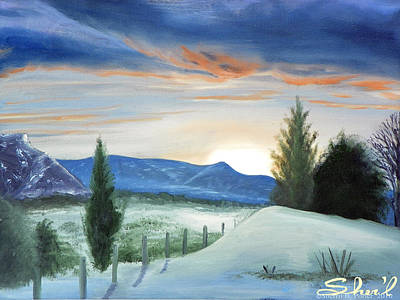 Poster featuring the painting Winter Sunset by Sherril Porter