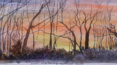 Winter Surprise -a Watercolor Sketch  Poster by Joel Deutsch