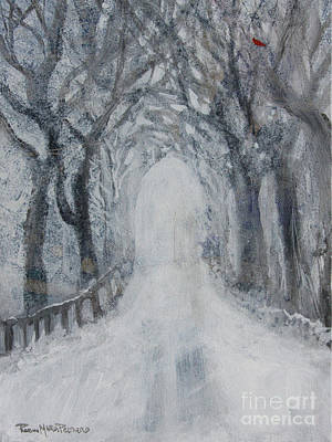 Poster featuring the painting Winter Tree Tunnel by Robin Maria Pedrero