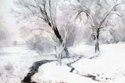 Poster featuring the digital art Winter Trees by Francesa Miller