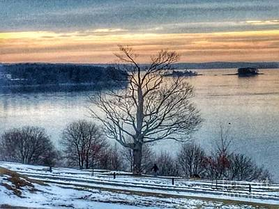 Winter Twilight At Fort Allen Park Poster