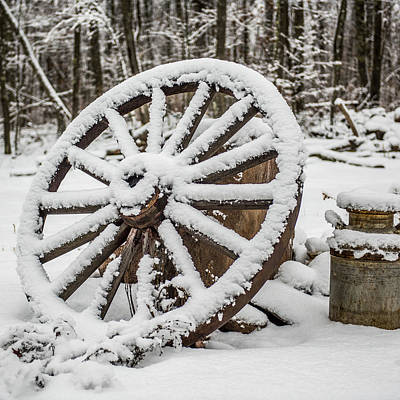Winter Wagon Wheel Poster