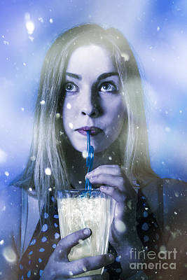 Winter Woman Drinking Ice Cold Drink Poster