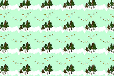 Winter Woodlands Bird Pattern Poster
