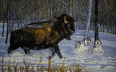 Winter's Hunt  48x30x1 Inch Oil On Gallery Canvas Poster by Manuel Lopez