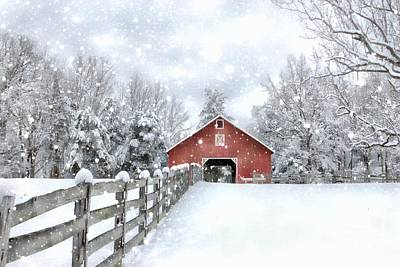 Winter's Red Barn Poster