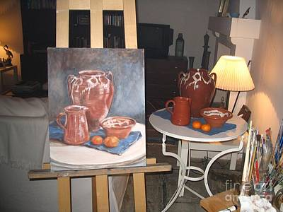 Wip Oil Painting Still Life Poster