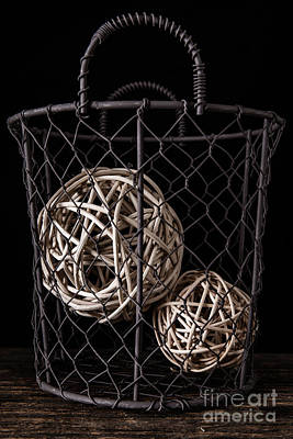 Wire Basket And Balls Still Life Poster by Edward Fielding