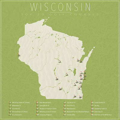 Wisconsin Golf Courses Poster by Finlay McNevin