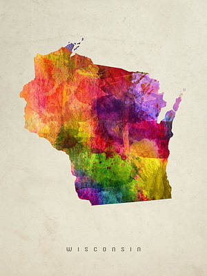 Wisconsin State Map 02 Poster by Aged Pixel