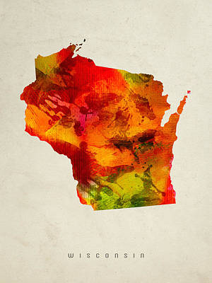 Wisconsin State Map 04 Poster by Aged Pixel