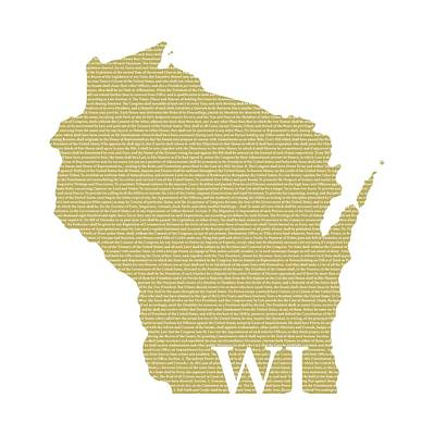 Wisconsin State Map With Text Of Constitution Poster