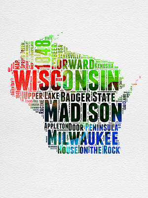 Wisconsin Watercolor Word Cloud Map  Poster