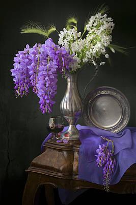 Wisteria And Allium Ursinum Poster