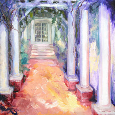 Wisteria Arbor At Old Salem Poster by Joan Hogan