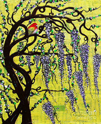 Poster featuring the mixed media Wisteria Joy by Natalie Briney
