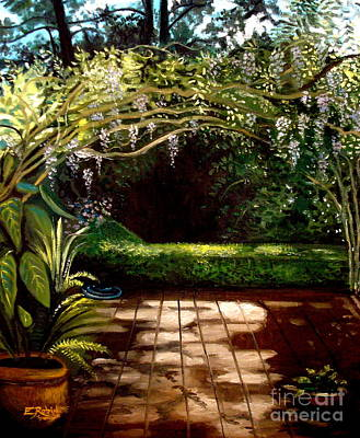 Poster featuring the painting Wisteria Shadows by Elizabeth Robinette Tyndall