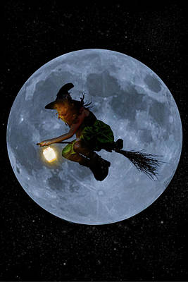 Witch Flying At Full Moon. Poster by Maggie McCall