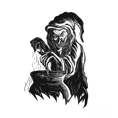 Witch Stirring Brew Pot Scratchboard  Poster