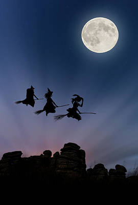 Witches Over Combstone Tor Poster by Maggie McCall