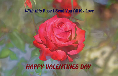With This Rose  Happy Valentines Day Poster