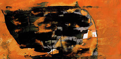 Within - Orange And Black Abstract Painting Poster by Modern Art Prints