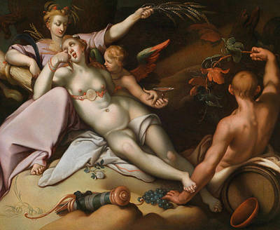 Without Ceres And Bacchus, Venus Freezes Poster by Abraham Bloemaert