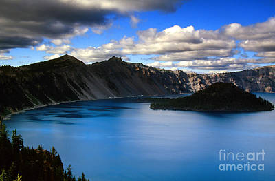 Wizard Island Stormy Sky- Crater Lake Poster