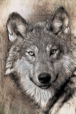 Aaron Berg Photography Poster featuring the digital art Wolf  by Aaron Berg