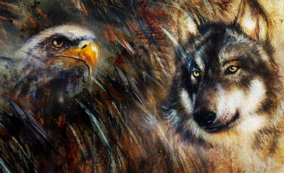 Wolf And Eagle Color Painting Feathers Background Multicolor Collage Illustration. Poster by Jozef Klopacka