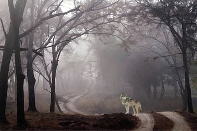 Poster featuring the photograph Wolf Deep In The Forest  by David Dehner