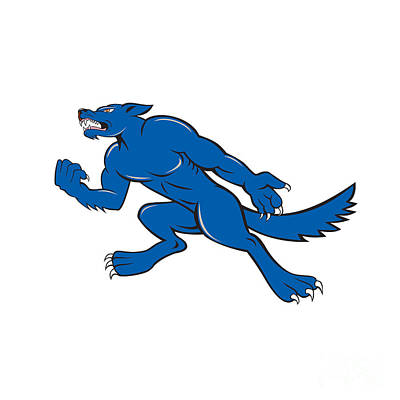 Wolf Dog Clenching Fist Cartoon Poster by Aloysius Patrimonio