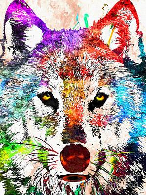 Wolf Grunge Poster by Daniel Janda