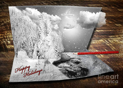 Wolf Holiday Card Poster