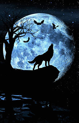 Wolf Howling At Full Moon With Bats Poster
