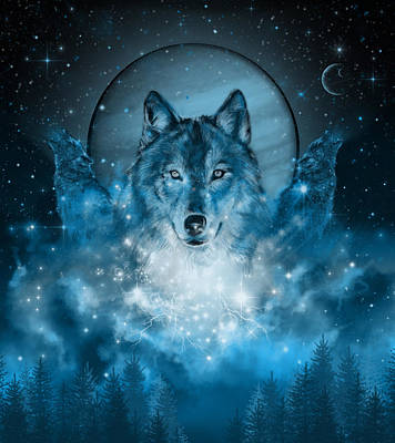 Wolf In Blue Poster by Bekim Art