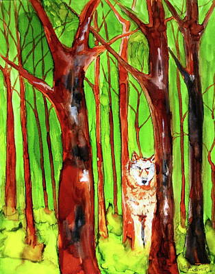Wolf In Woods Poster