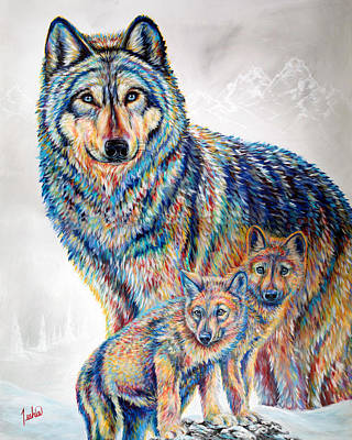 Wolf Pack Poster by Teshia Art