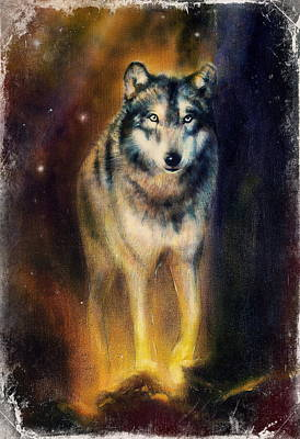 Wolf Painting On Canvas Color  Background On Paper Multicolor Illustration. Poster by Jozef Klopacka