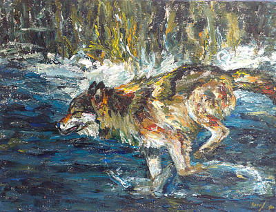 Poster featuring the painting Wolf Running by Koro Arandia