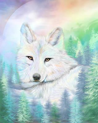 Wolf - Spirit Of Illumination Poster by Carol Cavalaris