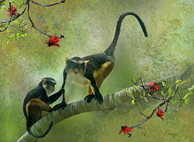 Poster featuring the digital art Wolf's Guenon by Thanh Thuy Nguyen